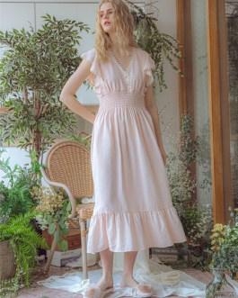 Nightdress Pajamas V-Neck Short Sleeves Cotton Sleepwear