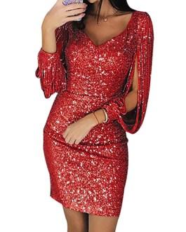 Open Design Sleeve Shimmering V-Neckline Mini Dress