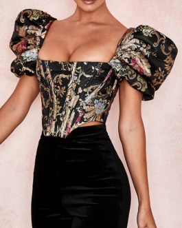 Printed Zipper Bateau Neck Retro Short Puff Sleeves Polyester Tops