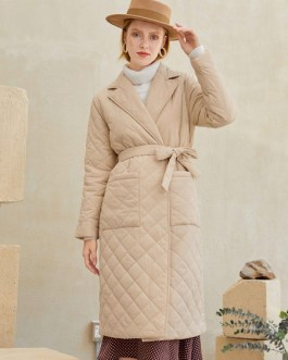 Puffer Coats Wind Proof Turndown Collar Lace-up Long Sleeves Nylon Outerwear