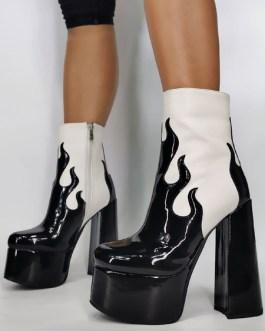 Round Toe Zipper Artwork Chunky Heel Over The Knee Patent PU Boots