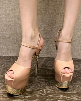 Sexy Peep Toe PU Leather Stiletto Heel Sandals