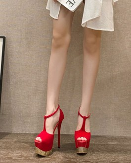 Sexy Peep Toe Stiletto PU Leather Heel Sandals