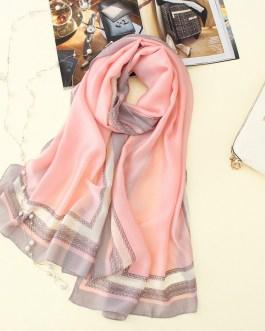 Soft print long size silk scarves