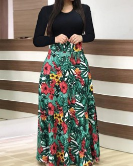 Solid Floral Printed Long Sleeves Two Tone Maxi Length Dress