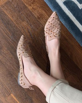 Spike Micro Suede Upper Loafers Pointed Toe Studded Casual Flat Shoes