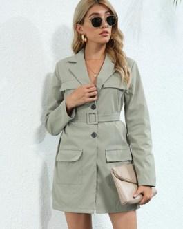 Stylish Polyester Layered Turndown Collar Lace Up Long Sleeves Blazer Coats