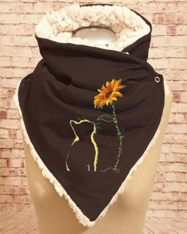 Thick Casual Cat Printed Adjustable Neck Wrap Warm Scarf