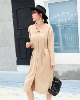 Turn-down Collar Lace up Long Sleeve Fashion Loose Sweater Dresses