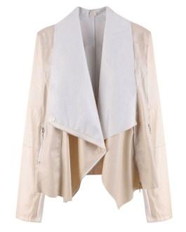 Turndown Collar Long Sleeve Zipper PU Leather Jacket