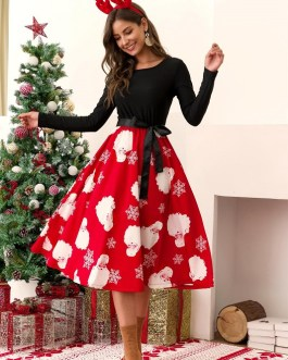 Vintage Long Sleeve Dress A-Line New Christmas Pattern Print Midi Dress