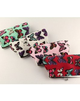 Casual Butterfly Printing Canvas Wallet And Long Coin Purse