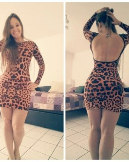 Casual Sexy Leopard Print Bodycon Mini Party Dress