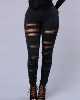 Casual Skinny Random Ripped Solid Jeans
