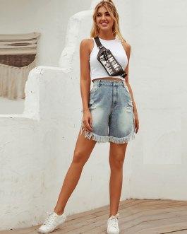 Fashion High-waisted Tassels Decor Irregular Denim Shorts