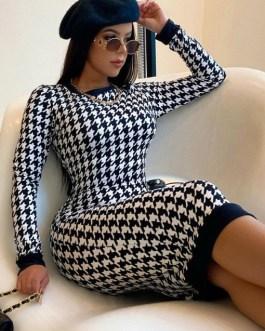 Houndstooth Long Sleeve Maxi Dress