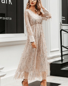 Mesh long sleeve sequin night maxi dress