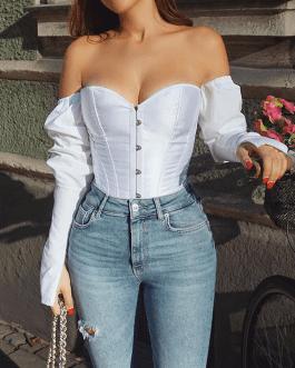 Off Shoulder Long Sleeve Solid Color Blouse