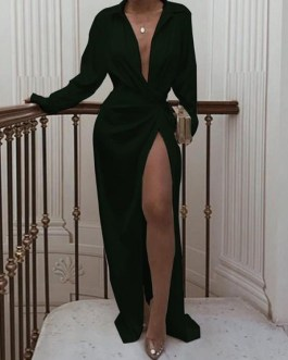 Turndown Neck Long Sleeve Long Wrap Dress