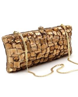 Vintage Gold Crystal Glass Diamond Handbag And Purses