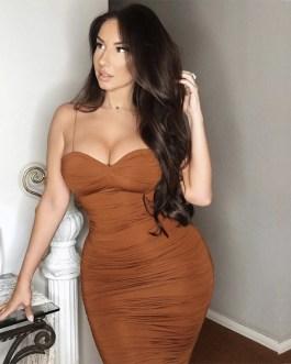Bodycon Dress Long Pleated Sexy night Club dress