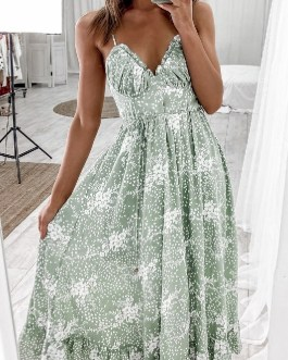 Casual print sexy V-neck Elegant lace-up ruffle maxi dress