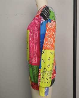 Fashion Color Contrast Paisley Print Long Sleeve Sweatshirt