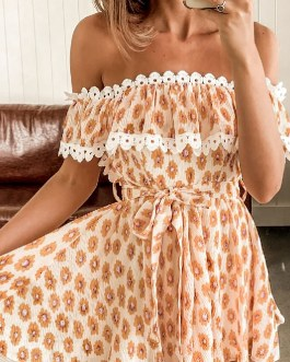 Floral print off-shoulder ruffle casual Fashion lace-up romper