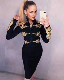 Long Sleeve Bandage Sexy Buttons Two Pieces Sets Tassel Club Party Outwear Sets