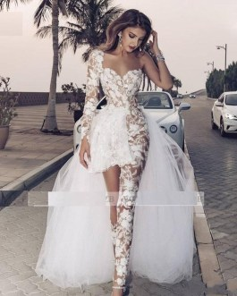 Sexy Long Sleeves Lace Overskirts Bride Dress With Pants