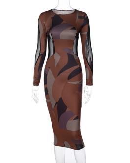 Sexy Mesh Color Blocking Patchwork Midi Dress