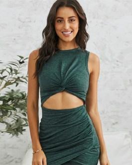 Sexy Solid Color Irregular Hem Dress