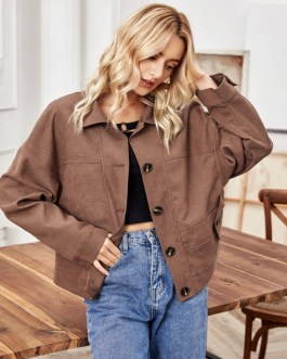 Single-Breasted Solid Long Sleeve Jacket