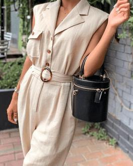 Vintage sash belt solid jumpsuit