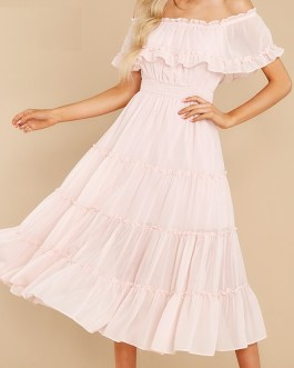 off Shoulder ruffle pleated short sleeve A-line casual midi dress
