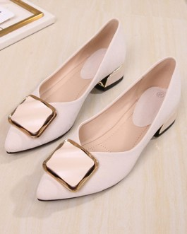 Ballet PU Leather Pointed Toe Buttons Ballerina Flats