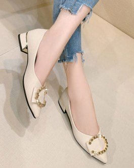 Ballet PU Leather Pointed Toe Buttons Daily Casual Ballerina Flats