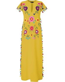 Bohemian Floral Tassel High Split Long Maxi Dress