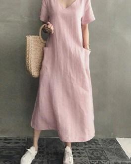 Cotton Short Sleeve V-neck Side Pocket Solid Midi Dress