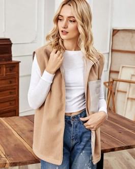 Faux Fur Turndown Collar Sleeveless Zipper Overcoat