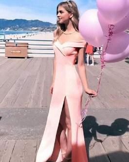 Maxi Dress Off Shoulder Split Long Prom Dress