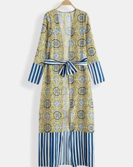 Retro Print V-neck Bohemian Holiday Long Sleeve Floral Long Maxi Dress