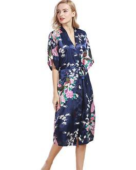 Sexy Fashion Peacock Print Loose Pattern Silk Pajamas Robe
