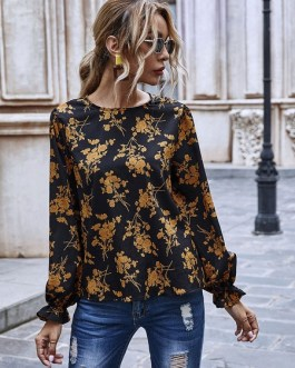 Shirt  Floral Print Flowers Jewel Neck Long Sleeves Polyester Casual Tops