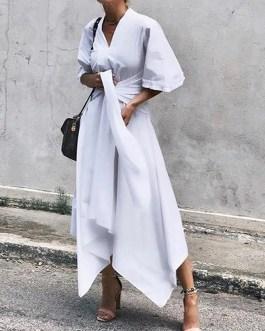 Sleeve Asymmetrical Midi Shirt Casual Belted Long Dress