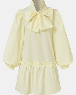Solid Color Puff Long Sleeve Bowknot Patchwork Casual Dress
