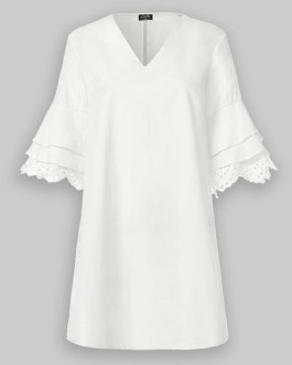 Solid Lace Ruffle V-neck Half Sleeve V-neck Casual Dress