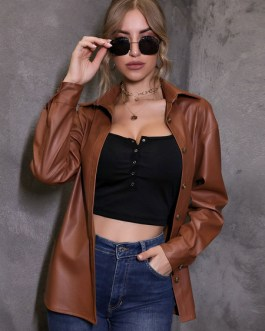 Turndown Collar Front Button Casual Short Leather Jacket
