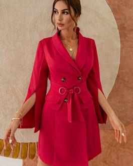 Turndown Collar Long Sleeve Split Front Lace Up Short Blazer Dress