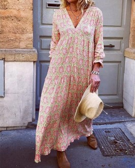 V-neck Print Long Sleeve Loose Maxi Dress